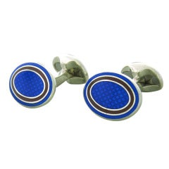 Deakin & Francis Blue Maroon Oval Sterling Silver Cufflinks
