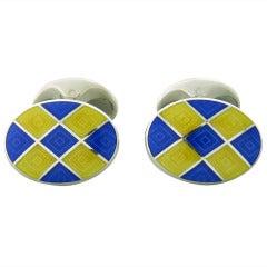 Deakin & Francis Sterling Silver Blue Yellow Oval Cufflinks