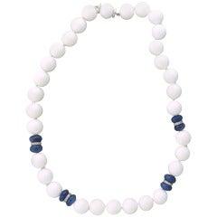 Seaman Schepps Sapphire White Agate Bead Diamond Gold Necklace