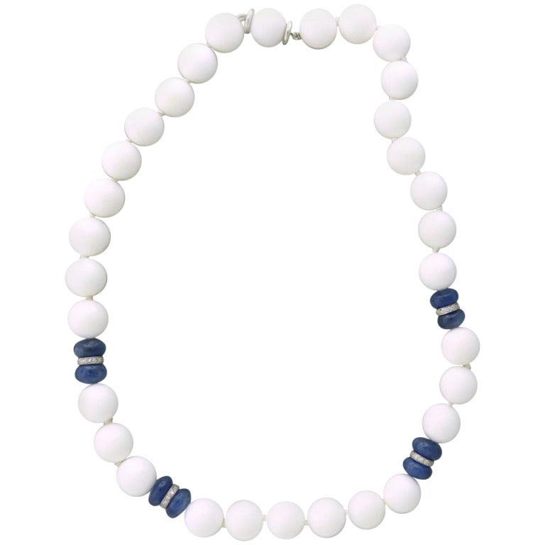 Seaman Schepps Sapphire White Agate Bead Diamond Gold Necklace