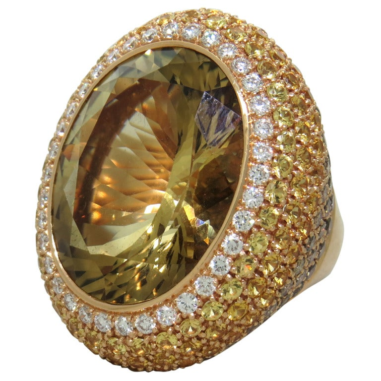 Large Citrine Yellow Sapphire Diamond Gold Cocktail Ring 1