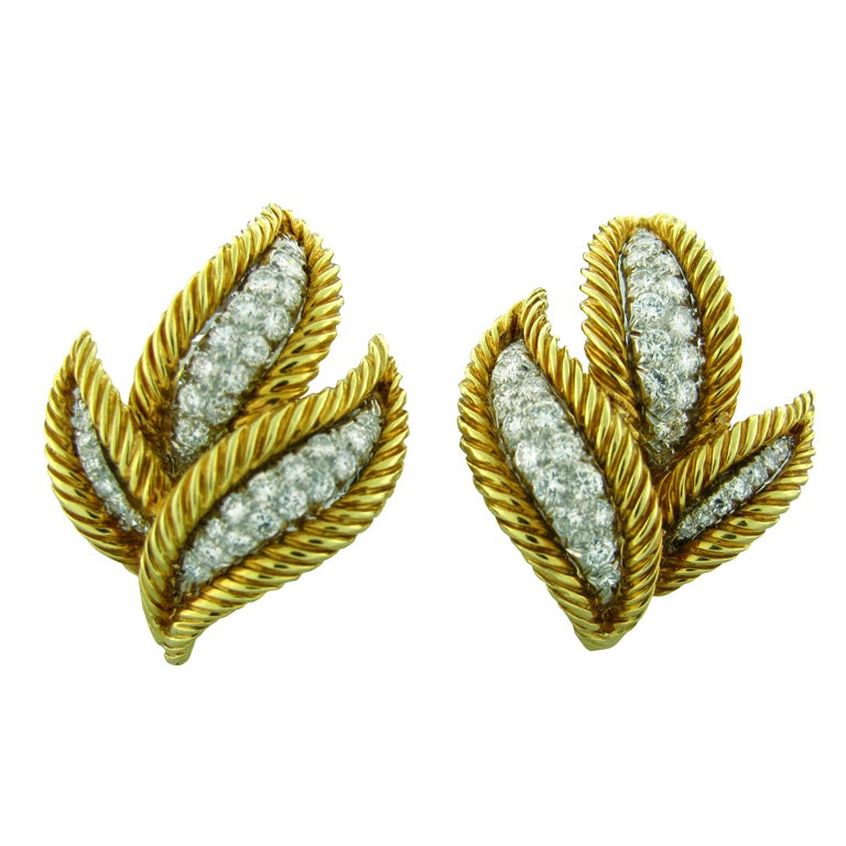 DAVID WEBB Diamond Gold Platinum Earrings 1