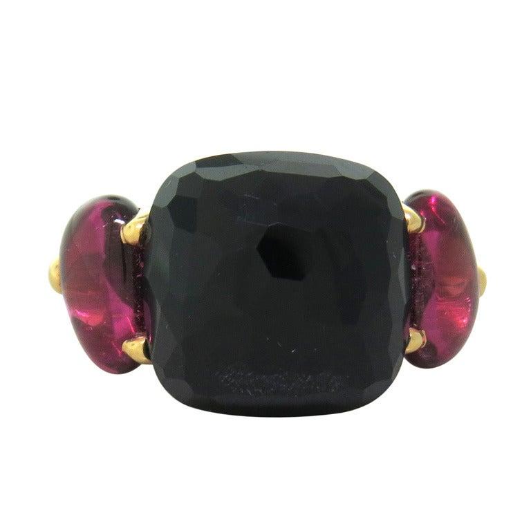 Pomellato Capri Onyx Pink Tourmaline Gold Ring