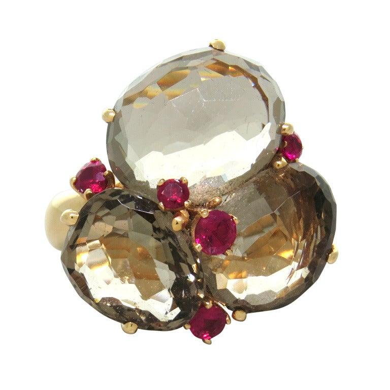 Pomellato Bahia Gold Smokey Quartz Ruby Ring