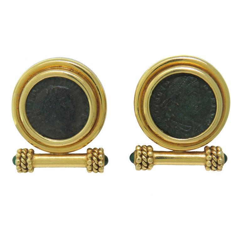 elizabeth locke gold emerald ancient coin earrings at 1stdibs