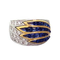 Gold Diamond Sugarloaf Cut Sapphire Ring