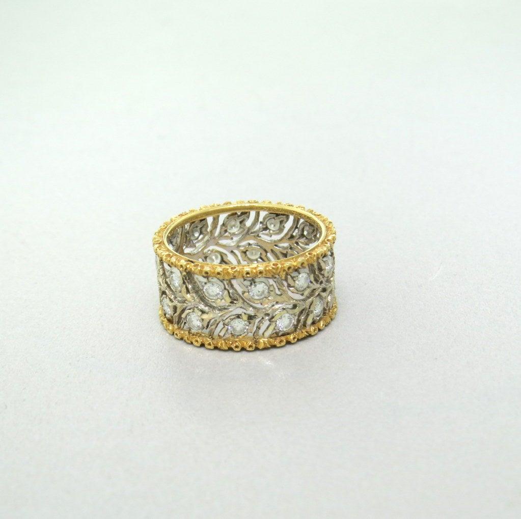 buccellati ramage gold wide band ring at 1stdibs
