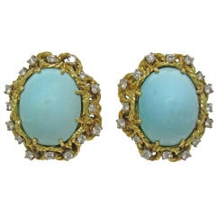 1960s Gold Diamond Turquoise Earrings