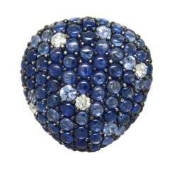 Modern Sapphire Diamond Gold Ring