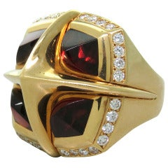 Valente Garnet Diamond Gold Large Ring
