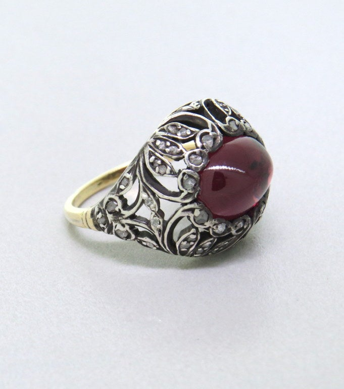 antique garnet cut gold ring at 1stdibs