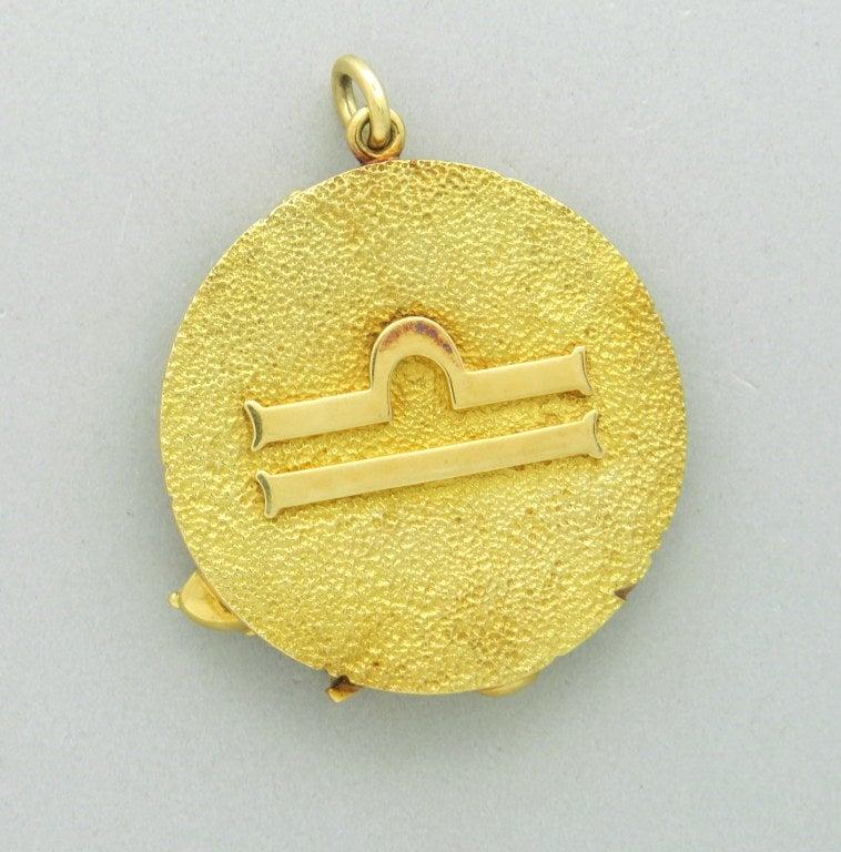 Tiffany And Co Gold Large Zodiac Libra Pendant Medallion