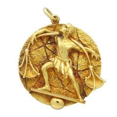 Tiffany & Co. Gold Large Zodiac Libra Pendant Medallion