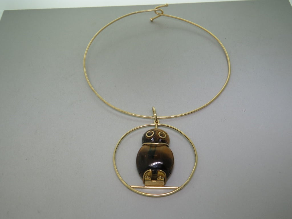 """Vintage Seaman Schepps 14k Gold Tiger's Eye Owl Pendant Necklace.  Owl - 39mm x 25mm.  Necklace 15"""" Long, Pendant 55mm in diameter. Weight, 43.5 grams. Established in 1904, the name Seaman Schepps is synonymous with vibrant, original design and"""