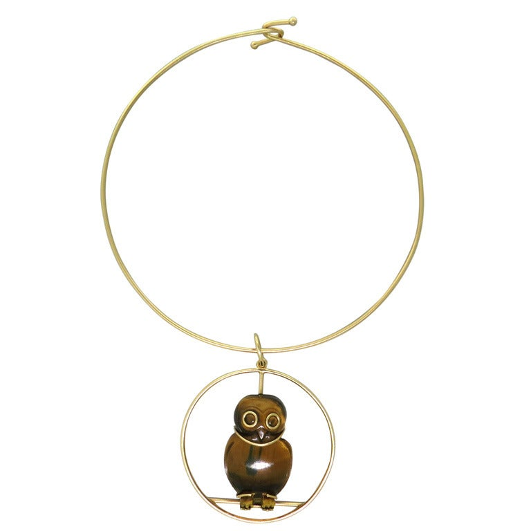 1970s Seaman Schepps Gold Tiger's Eye Owl Pendant Necklace For Sale