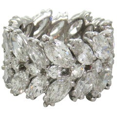 Important 1950s Platinum Diamond Wide Eternity Wedding Band Ring