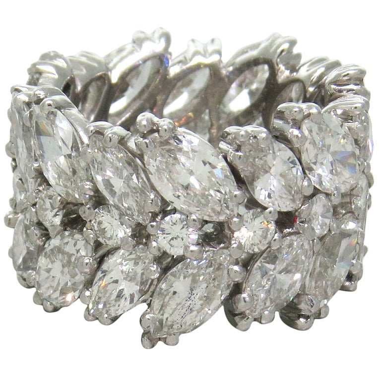 important 1950s platinum diamond wide eternity wedding