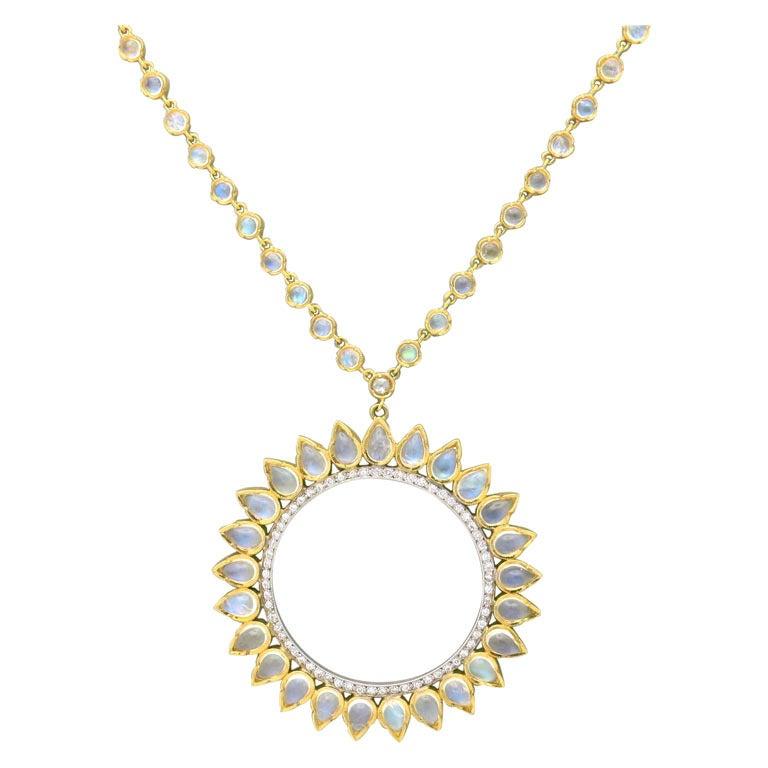 Irene neuwirth moonstone diamond gold sunburst pendant necklace at irene neuwirth moonstone diamond gold sunburst pendant necklace for sale aloadofball Images