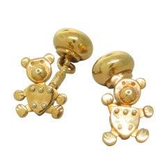 Pomellato Gold Orsetto Movable Bear Cufflinks