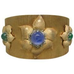 60s Rare Buccellati Gold Sapphire Emerald Flower Large Cuff Bracelet