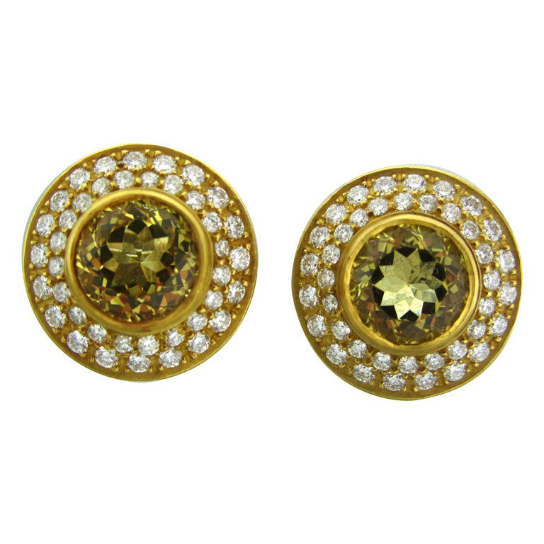 KIESELSTEIN-CORD Beryl Diamond Gold Earrings at 1stdibs