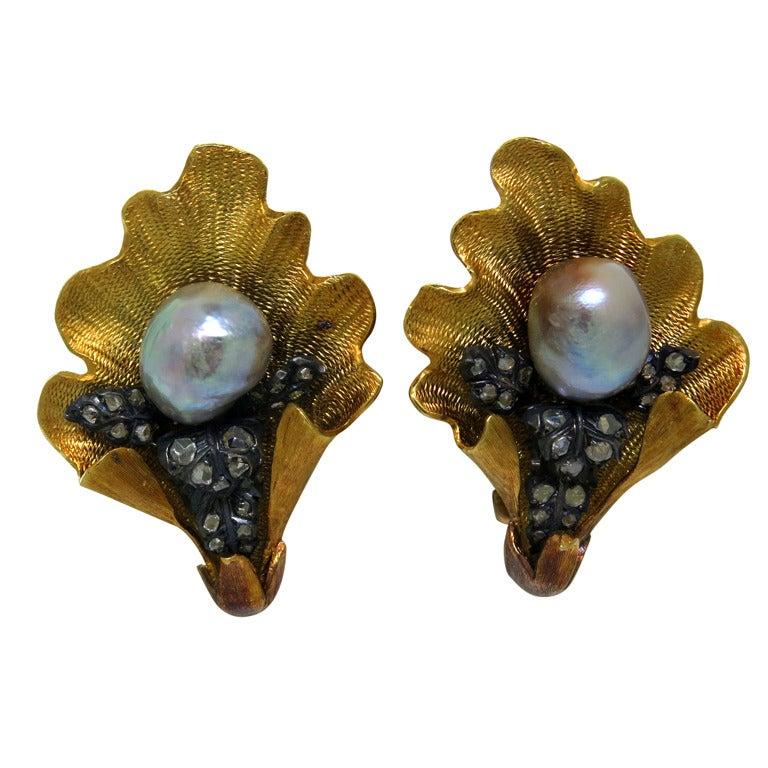Mario Buccellati Pearl Diamond Gold Earrings
