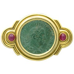 Rare Bulgari Ancient Coin Ruby Gold Belt Buckle