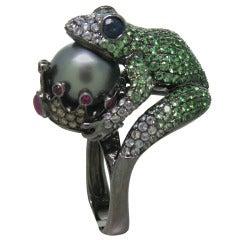 Modern Tsavorite Pearl Ruby Sapphire Diamond Blackened Gold Frog Ring