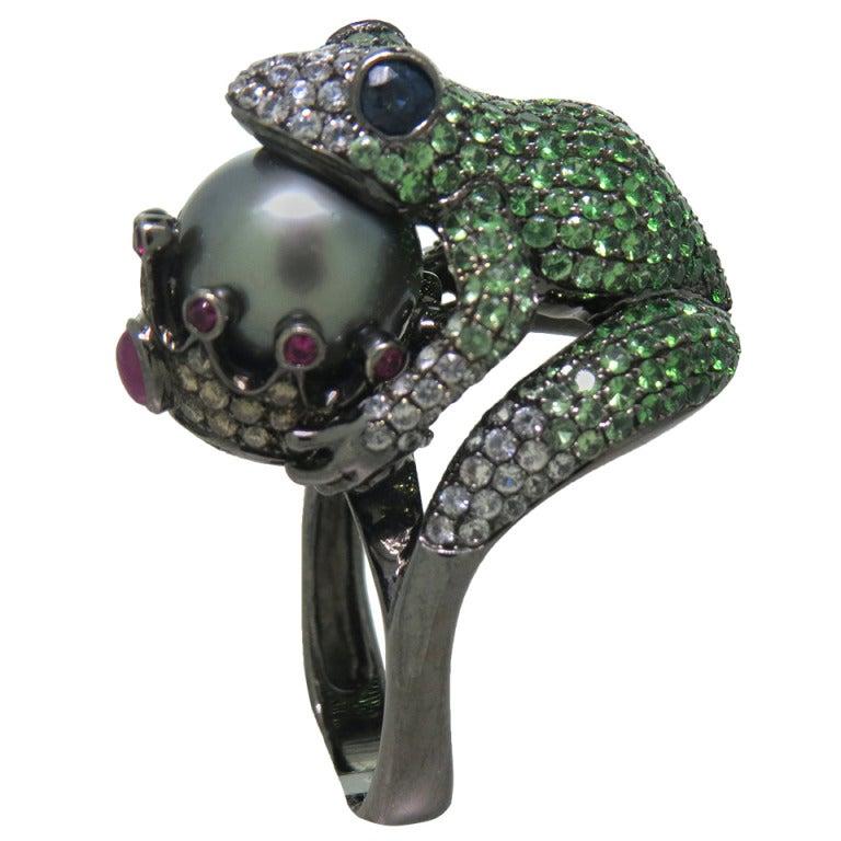 Modern Tsavorite Pearl Ruby Sapphire Diamond Blackened Gold Frog Ring 1