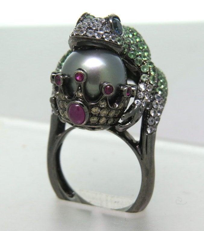 Modern Tsavorite Pearl Ruby Sapphire Diamond Blackened Gold Frog Ring 2