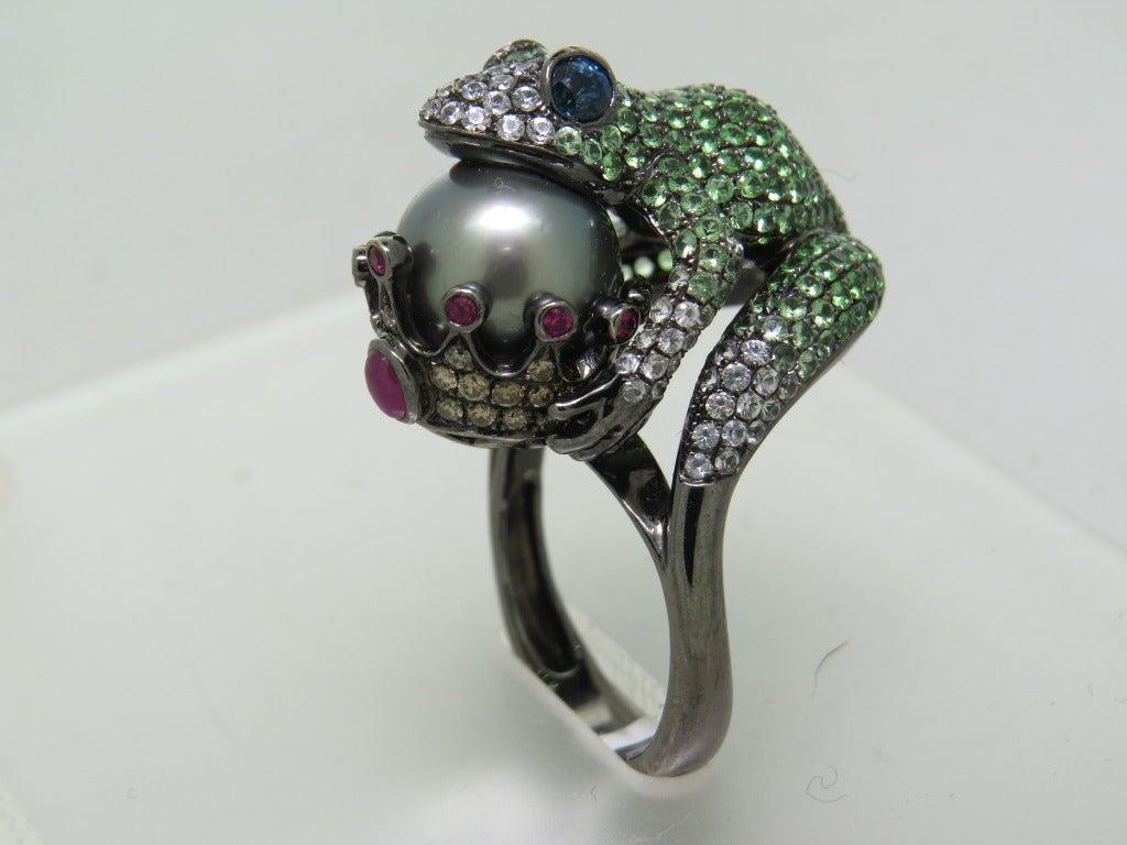 Modern Tsavorite Pearl Ruby Sapphire Diamond Blackened Gold Frog Ring 4