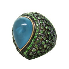 Large Aquamarine Green Garnet Gold Ring