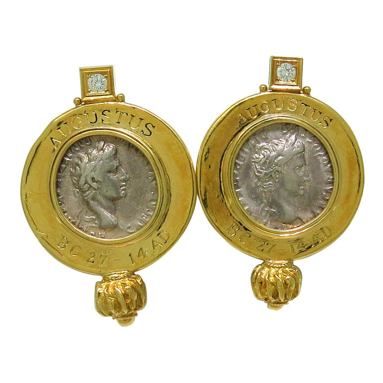 elizabeth gage ancient coin gold earrings at 1stdibs