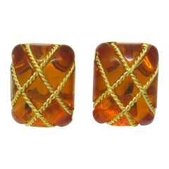 Seaman Schepps Amber Gold Cage Earrings