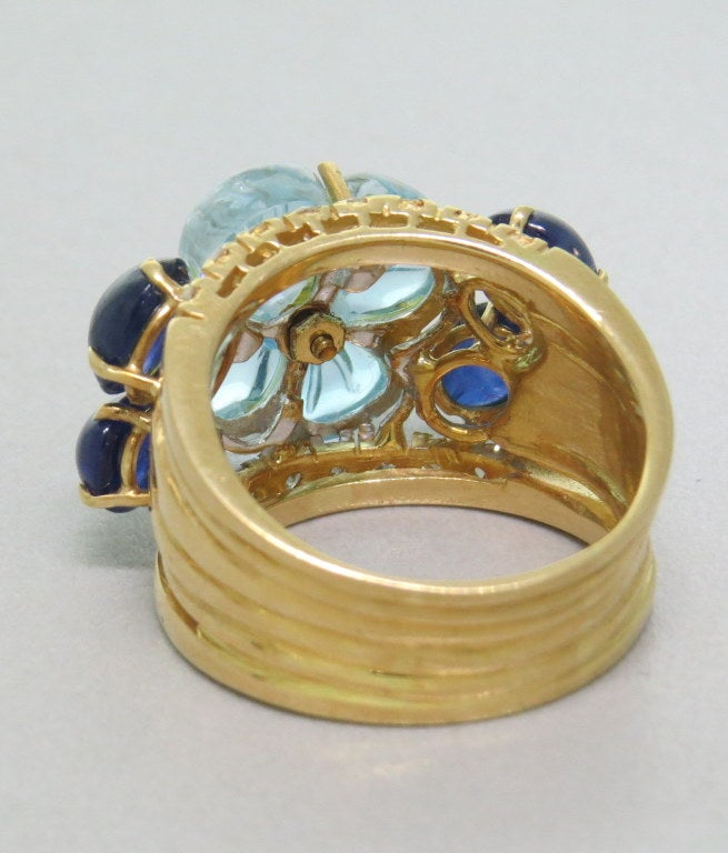 carved blue topaz sapphire gold ring at 1stdibs