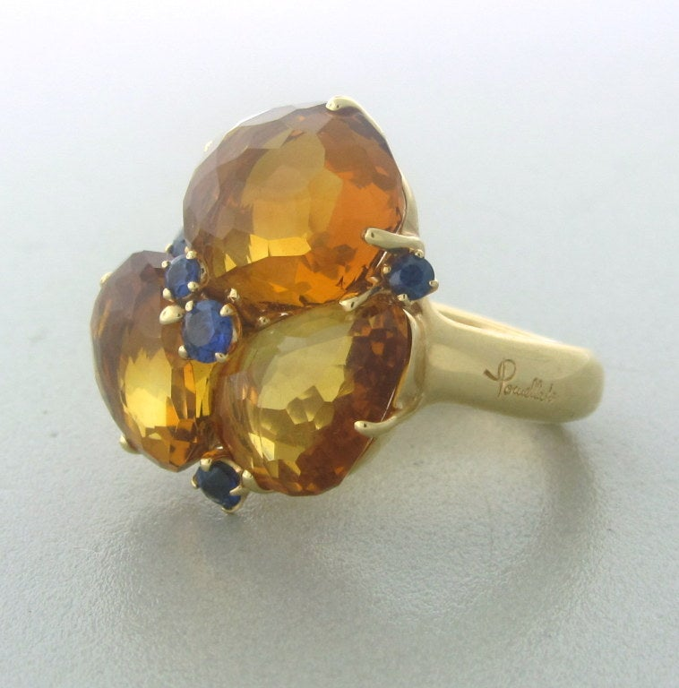 18K Rose Gold Gemstones: Madeira Citrine, Sapphires. Measurements: Ring Size - 6 1/2. Ring Top Is 23mm X 22mm (Inch=25mm) Marked: Pomellato,750. Weight: 19.8 g