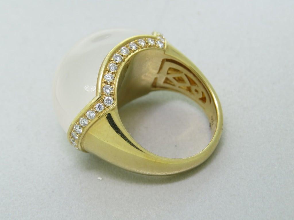 Modern Milky Quartz Diamond Gold Ring 3