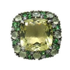 Modern Lemon Quartz Tsavorite Gold Ring