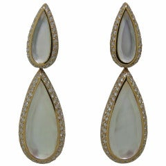 Modern Mother of Pearl Crystal Diamond Gold Teardrop Earrings