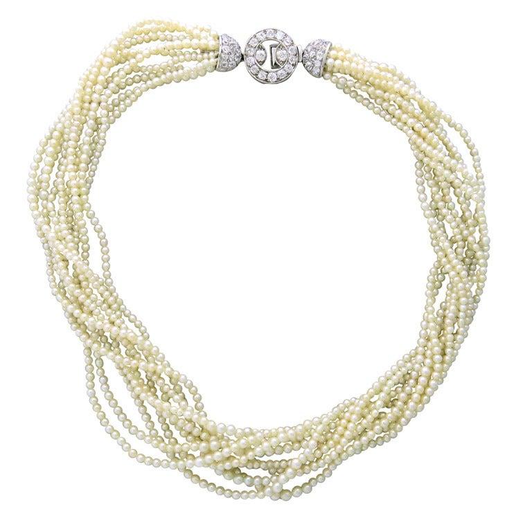 Antique Pearl Platinum Old Mine Diamond Necklace