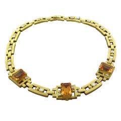 Kieselstein Cord Citrine Diamond Gold Necklace