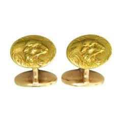Art Nouveau Gold Lion Head Cufflinks