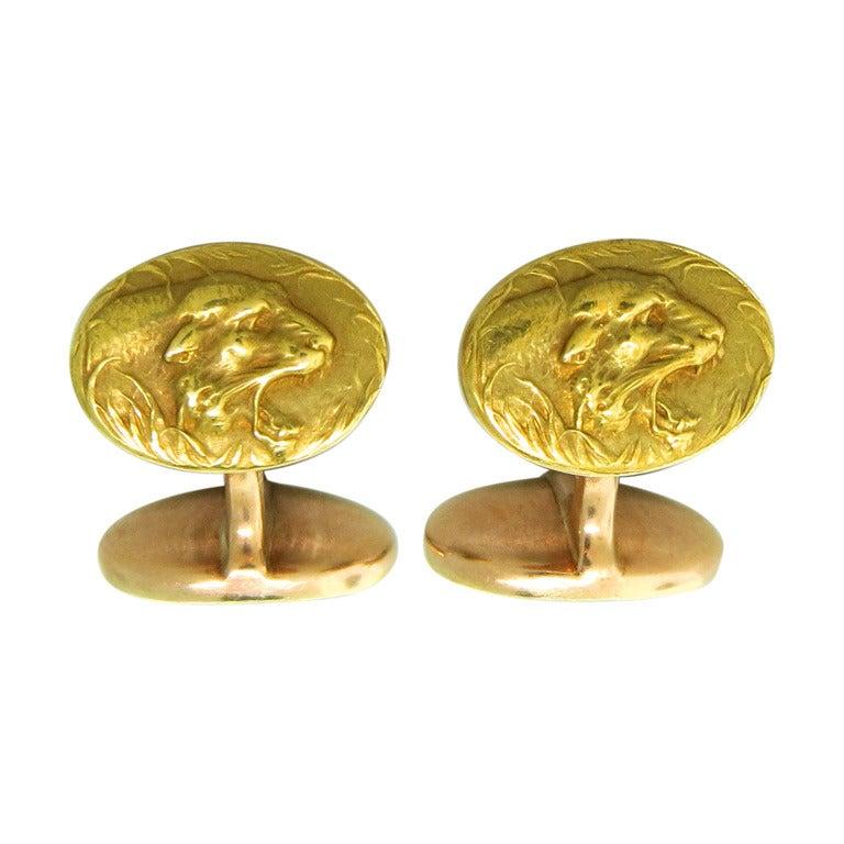 Art Nouveau Gold Lion Head Cufflinks at 1stdibs