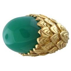 David Webb Gold Green Agate Cabochon Large Ring