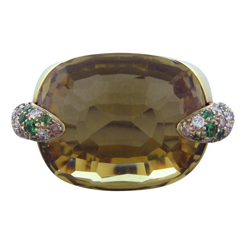POMELLATO PIN UP  Gold Diamond Tsavorite Lemon Citrine Ring