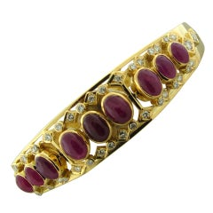 LALAOUNIS  Arabesque Gold Diamond Ruby Bangle Bracelet