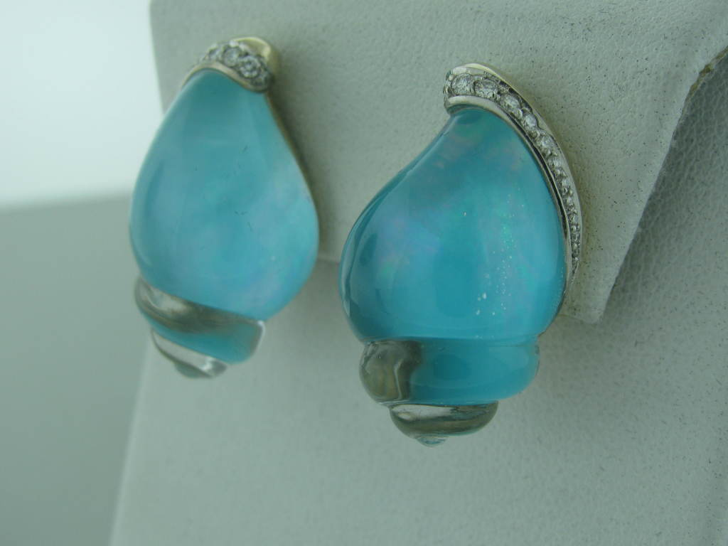 Metal: 18K white gold Marked/Tested VHERNIER, 750 Gemstones/Diamonds Diamonds- approx 0.28ctw Quartz Turquoise Clarity: VS Color: G-H Measurements: Earrings 29mm x 17mm (1 Inch = 25mm) Weight 27.7g
