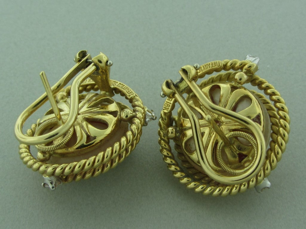 TIFFANY & CO SCHLUMBERGER Gold Rope Pearl Diamond Earrings 2