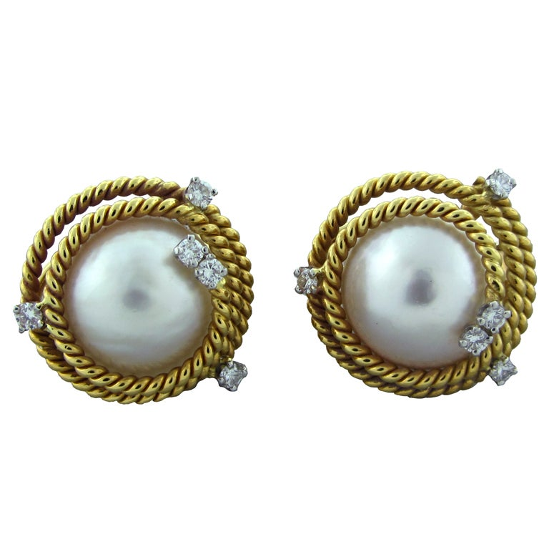 a2c943e83 TIFFANY & CO SCHLUMBERGER Gold Rope Pearl Diamond Earrings