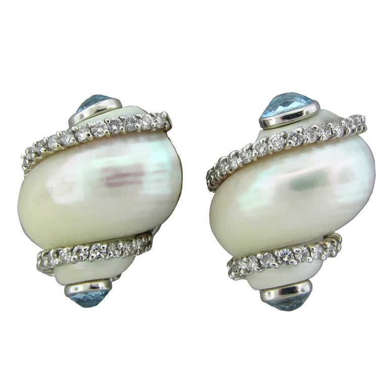 SEAMAN SCHEPPS Gold Aquamarine Diamond Shell Turbo Earrings 1